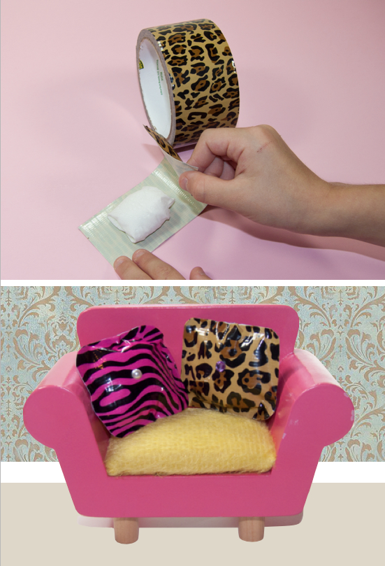 No-sew doll pillows using duct tape! Could make these in any size for Barbie or American Girl Dolls.