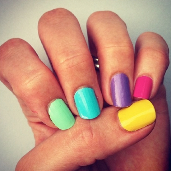like the ease of this rainbow nail design, as perfection here isn