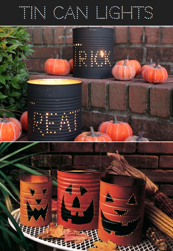Tin Can Halloween Luminaries