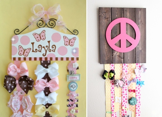 Lots of cute hair bow holder ideas!