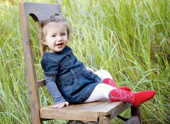 Cowgirl boot tights for babies.