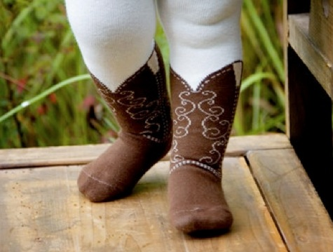 Cowgirl Boot Tights Brown