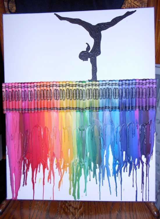 Crayons painting birthday gift gymnastics diy melted for Painting art ideas creative