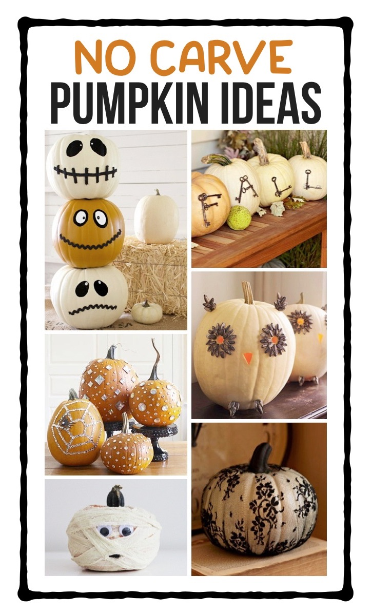No Carve Pumpkin Ideas For Kids To Make. Looking for easy pumpkin decorating ideas that require no carving? Check out these simple and creative ways to decorate a pumpkins with paint, stencils, stickers, lace and more! Lots of Halloween pumpkin ideas for kids, teens and adults to make. Everything from funny and cute to beautiful and glamorous for fall decor. Make cute animals like a cat or scary Halloween characters like a witch or mummy. --> No Carve Pumpkin Decorating Ideas For Fall & Halloween #halloween #pumpkincarving #kidskubby
