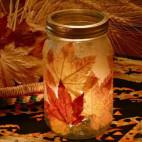 DIY Autumn Leaf Candle Holder