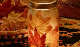 DIY Autumn Leaf Candle Holder