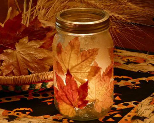 DIY Fall Leaf Candle Holder