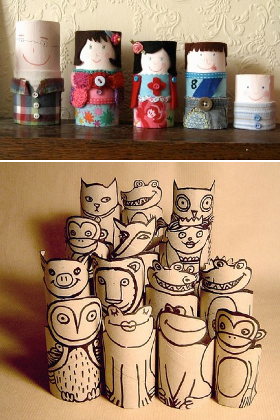 Toilet paper roll crafts kids kubby for Creative craft ideas with paper