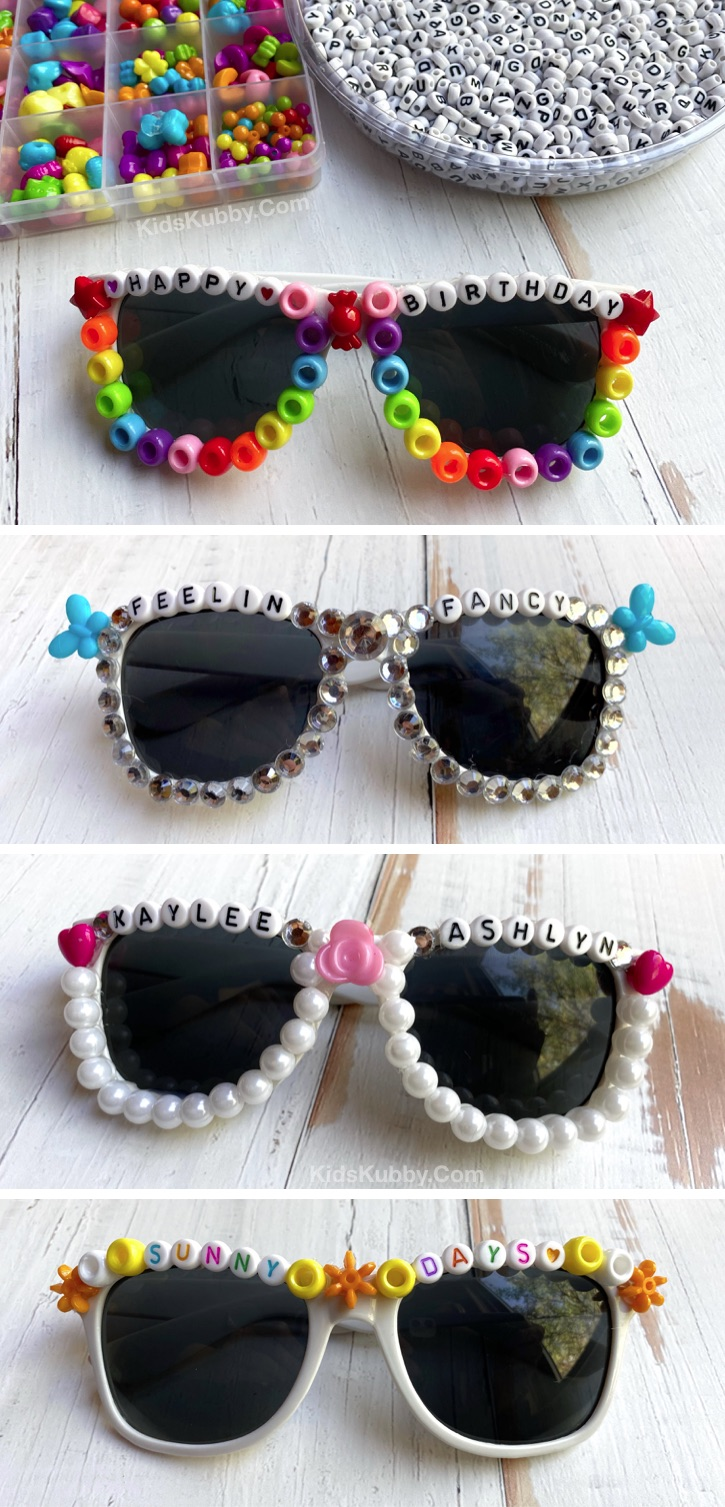 Easy Project Ideas For Teenagers To Make -- Cool DIY Beaded Sunglasses (plus word ideas). A super simple craft idea for older kids, tweens and teens. Colorful and creative! Great for a birthday party activity, too. Cute enough to even make and sell! #kidskubby #beads #crafts #teens
