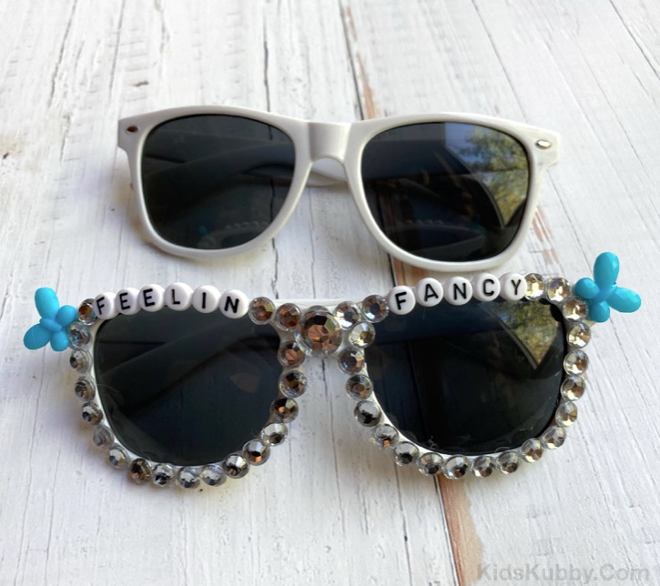 DIY Beaded Sunglasses made with letter beads and plastic rhinestones.