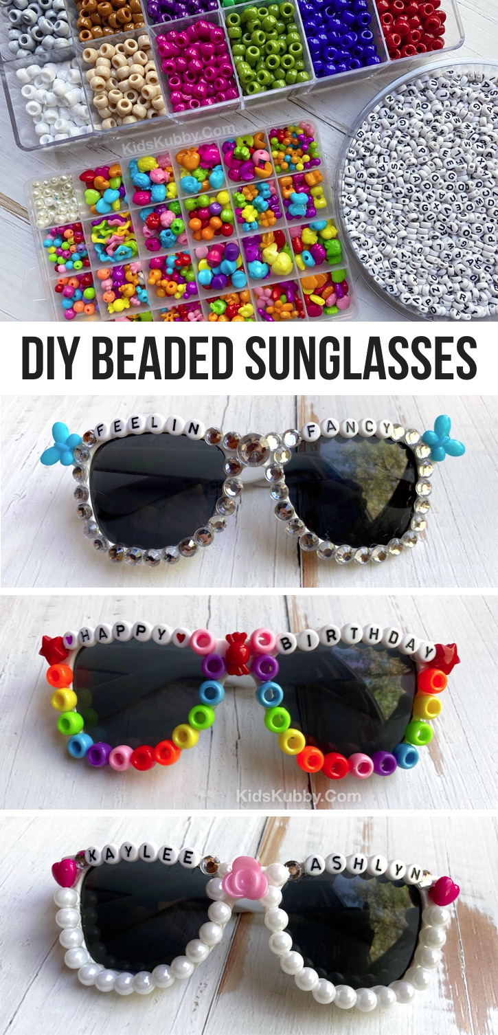 How To Make Cute DIY Beaded Sunglasses (plus word ideas) -- A super fun and easy craft project for teens to make at home when bored! A creative bead craft for parties and events, too. Cute enough to even make and sell! Older kids, tweens and teens will love this easy craft using simple supplies. #kidskubby #teens #craftsforteens #easycrafts