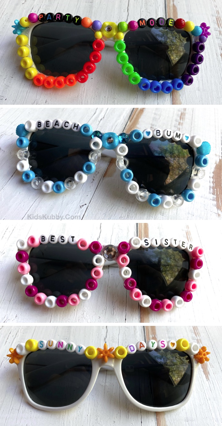How To Make Beaded Sunglasses (plus word ideas) --- A super fun, easy and creative craft idea for teenagers and older kids to make at home when bored. Nice enough to even make and sell. Also a unique idea for parties and sleepovers. #kidskubby #teens #crafts #DIY #funcrafts
