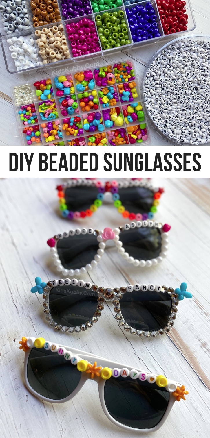 Fun & Easy Crafts For Teens To Make At Home When Bored -- DIY Beaded Sunglasses (plus word ideas). This simple bead project is perfect for parties, sleepovers and more. Girls especially love this easy DIY craft. Super fun for selfies and themed parties or events. Nice enough to even make and sell! #kidskubby #teens #tweens #crafts #beads