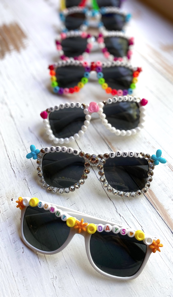 Fun and easy DIY crafts for teens at home when bored! These beaded sunglasses are a creative project for tweens, teens and kids! Super fun to make for parties or events. Nice enough to make and sell!