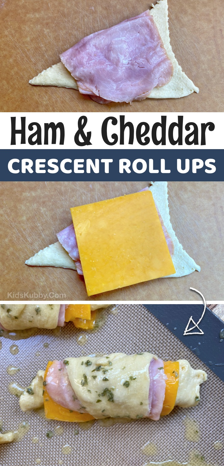 Looking for quick and easy lunch ideas for kids? These ham and cheese Pillsbury crescent roll ups are perfect for at home and school! Your picky eaters will not complain. They are super simple to make with cheap ingredients. Perfect for busy moms and dads on a budget. Everyone loves them-- toddlers to teens! #kidskubby #lunchideas #Pillsbury