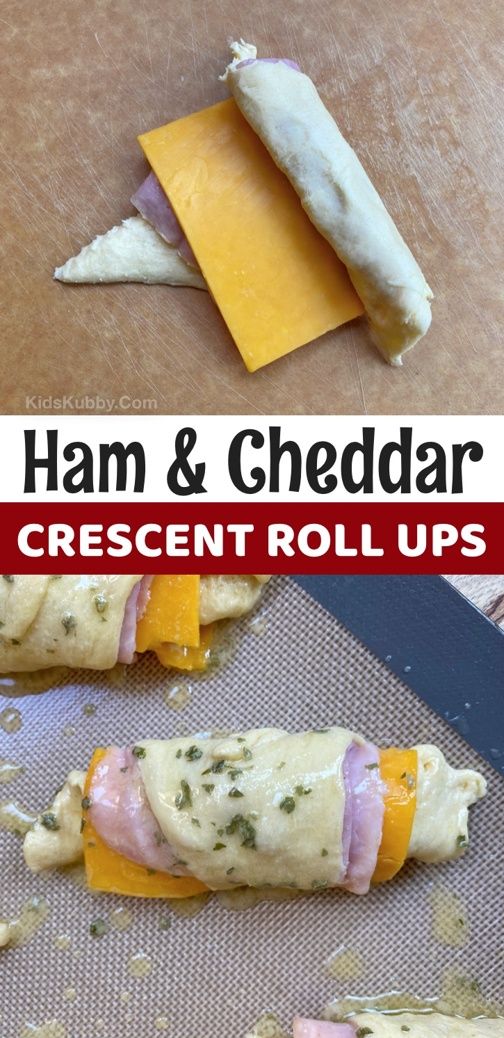 Pillsbury Crescent Dough Recipes For Lunch and Dinner -- Ham & Cheddar Roll Ups. A super easy lunch idea for kids at home! So simple to make with just a few cheap ingredients. Kids from kindergarten to teens love them! #kidskubby #lunchideas #teens #kindergarten #kids