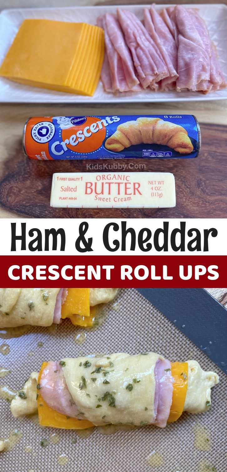 Easy Ham & Cheese Crescent Roll Ups -- A fun and creative lunch idea for kids at home and school! Your picky eaters will love this simple lunch recipe! Great for kindergarten, elementary and teens! So quick and easy. #kidskubby #pickyeaters #lunchideas