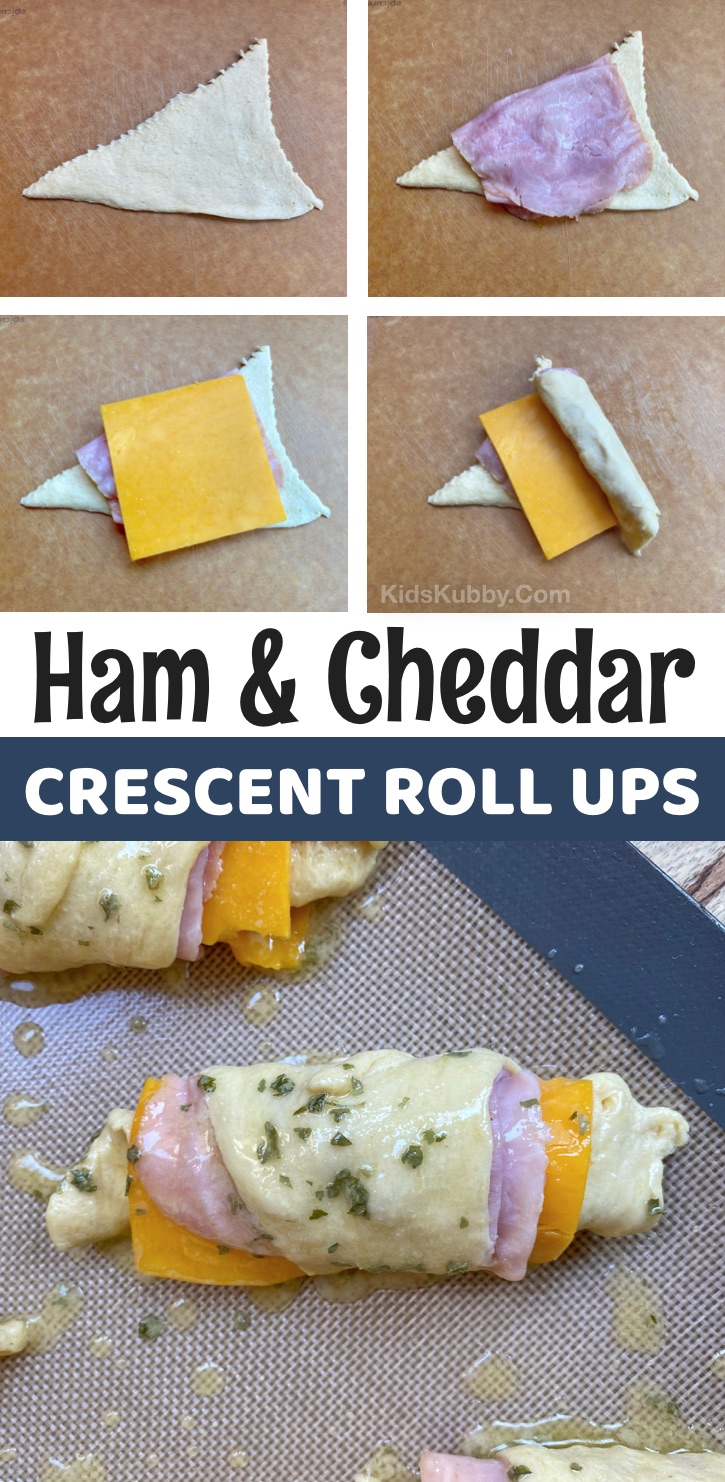 Ham & Cheese Crescent Dough Roll Ups -- A super simple lunch idea for kids at home or school! Your picky eaters will love this quick and easy lunch recipe! Easy enough for teens to make themselves with just a few cheap ingredients. #lunchideas #kids #kidskubby #Pillsbury