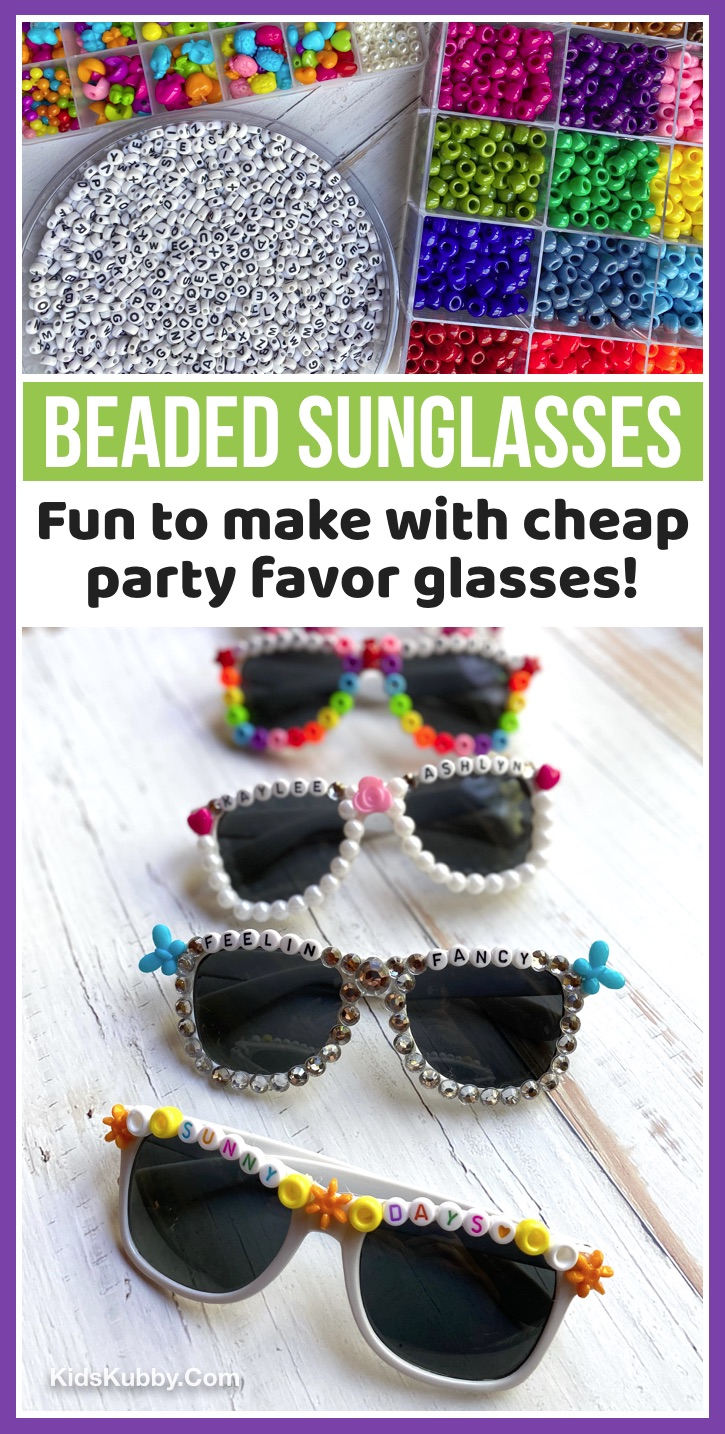 These DIY beaded sunglasses are so fun and easy to make with alphabet and pony beads! Design them in different fun colors. Cute idea for selfies, instagram pics and parties. Teens and older kids will love this creative boredom buster. Just use a hot glue gun to adhere the beads. You can buy a party pack of sunglasses on Amazon for super cheap. Also a fun idea for parties or small get-togethers with friends. Fun Activities For Teenagers To Do At Home Over The Summer -- #kidskubby #funideas