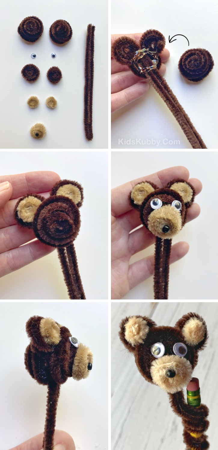 DIY Pipe Cleaner Animals Tutorial -- How to make pipe cleaner animals! This adorable teddy bear is easy to make and is really cute as a pencil topper. A fun craft for kids to make when bored at home, especially older kids and teenagers. #kidskubby #craftsforkids