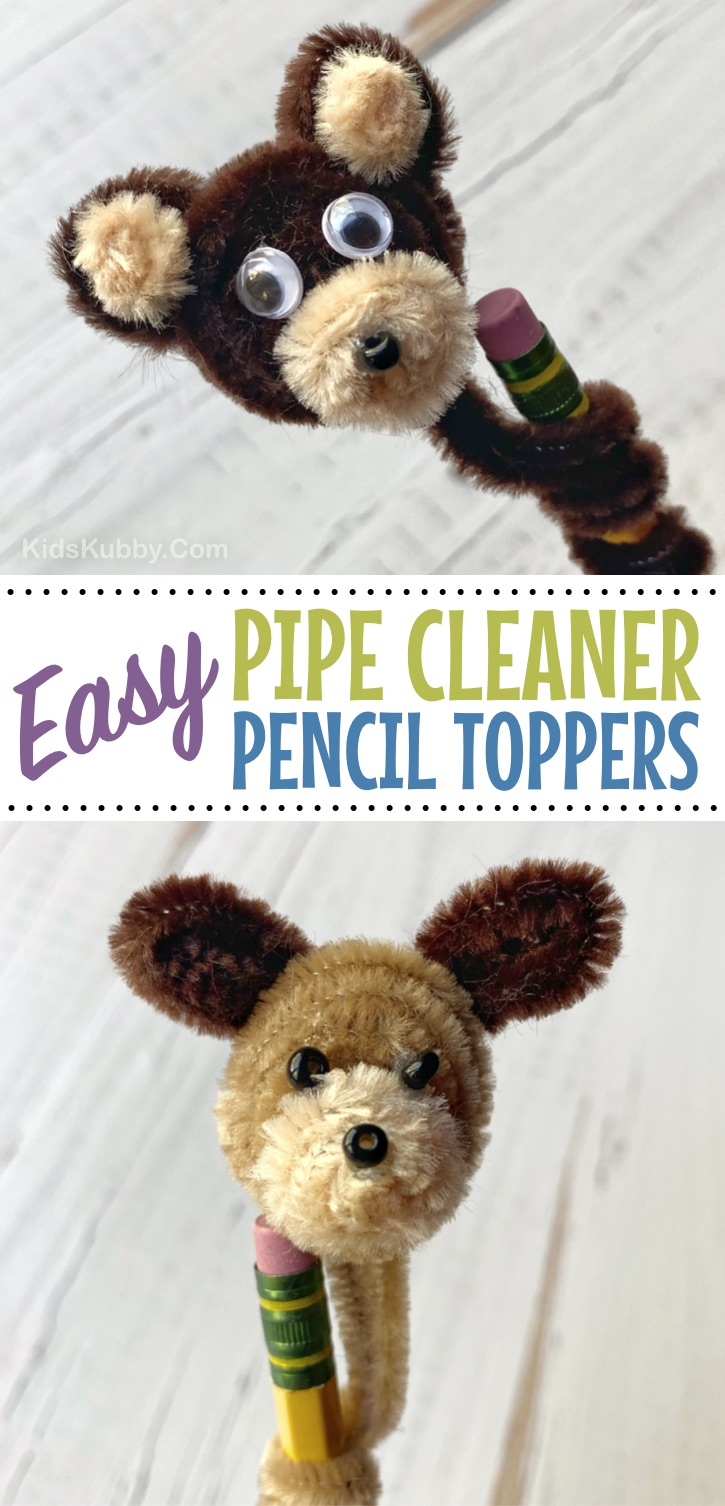 Looking for easy DIY crafts for kids to make at home when bored? Boys and girls will love these adorable DIY pipe cleaner animals! So cute as pencil toppers. Cheap and easy to make especially for older kids and teenagers. Easy to make puppies, bunnies, cats, dogs, pigs and more! Cute gift ideas. #kidskubby #kidscrafts #pipecleaners