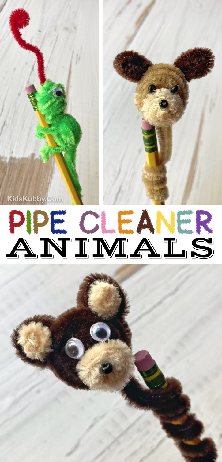 DIY Easy Pipe Cleaner Animals Craft -- A super fun and simple craft idea for kids to make! This pipe cleaner project makes for the cutest pencil toppers. A really cheap and creative activity for kids when they are bored at home. Perfect for teenagers and older kids! You just need a few supplies including craft pipe cleaners, googly eyes and a hot glue gun. Kids Kubby