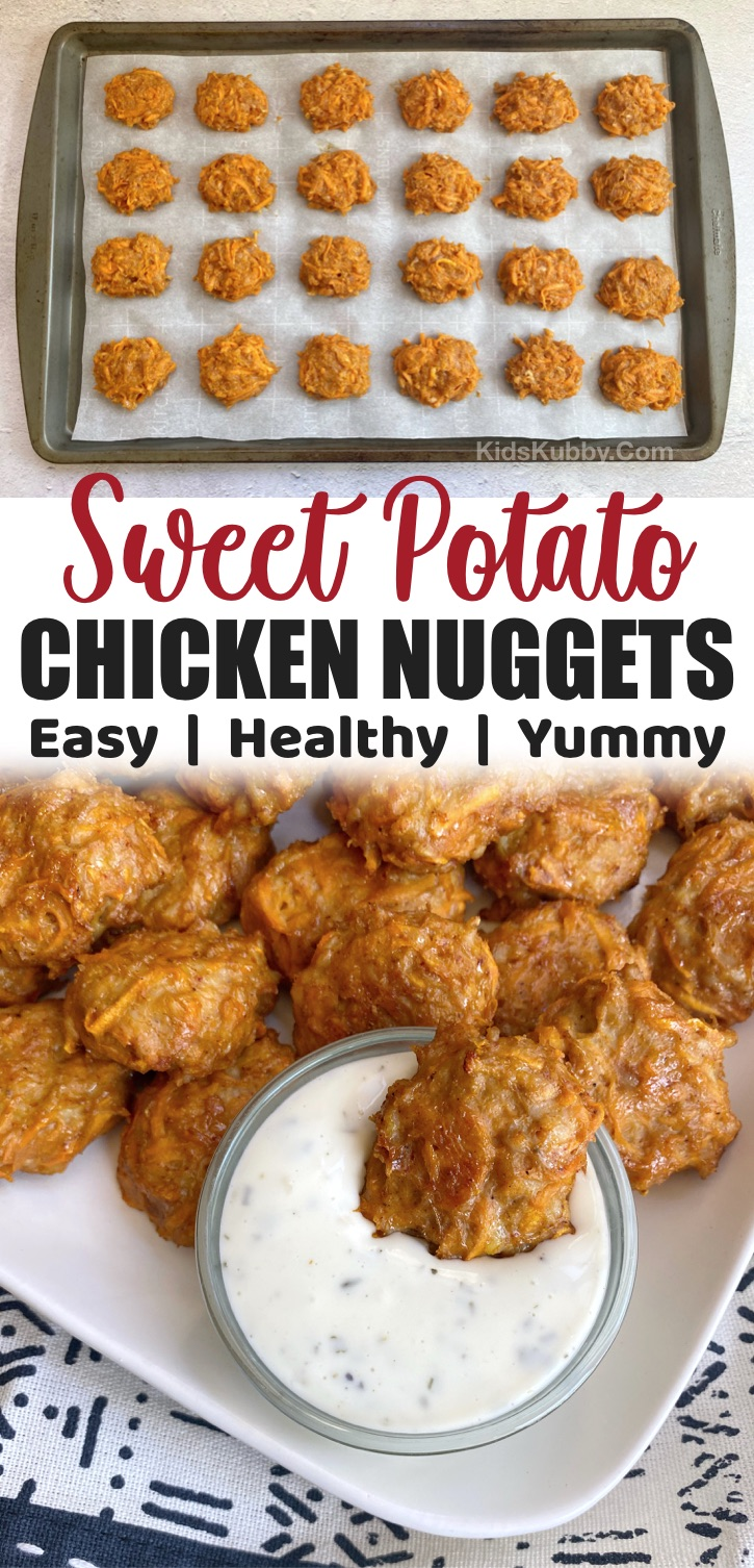 Baked Healthy Sweet Potato Chicken Nuggets -- A quick and easy snack, lunch or dinner idea for kids! My picky eaters love these sheet pan chicken bites. Freezer friendly, too! A great last minute meal idea for busy moms and dads. Paleo friendly, healthy and made with just a few cheap ingredients.